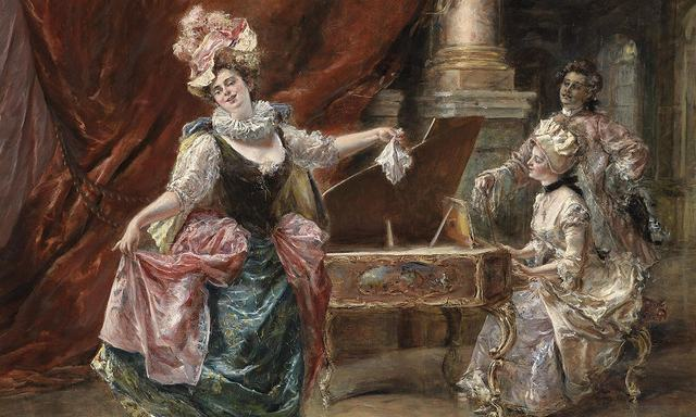 ヨーロッパ絵画 貴族・貴婦人 ダンス  420S 58×46 ロココ額絵 送料無料