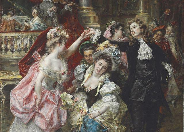 ヨーロッパ絵画 貴族・貴婦人 舞踏会  422S 46×58 ロココ額絵 送料無料