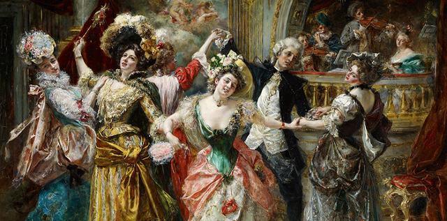 ヨーロッパ絵画 貴族・貴婦人 舞踏会  925L 98×78 ロココ額絵 送料無料